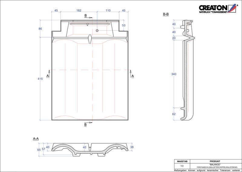 Produkt CAD-Datei BALANCE Firstanschlusslüfter Doppelwulstziegel FALDWZ