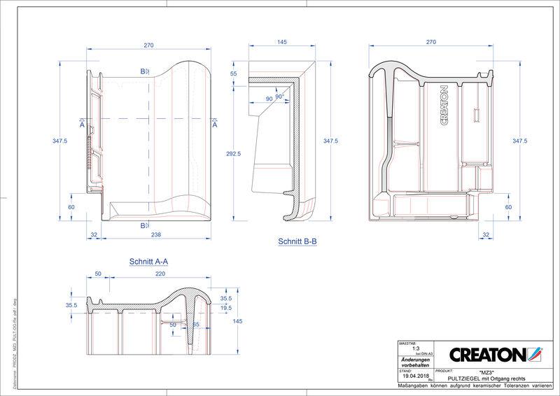 Produkt CAD-Datei MZ3 NEU Pultziegel Ortgang rechts PULTOGR