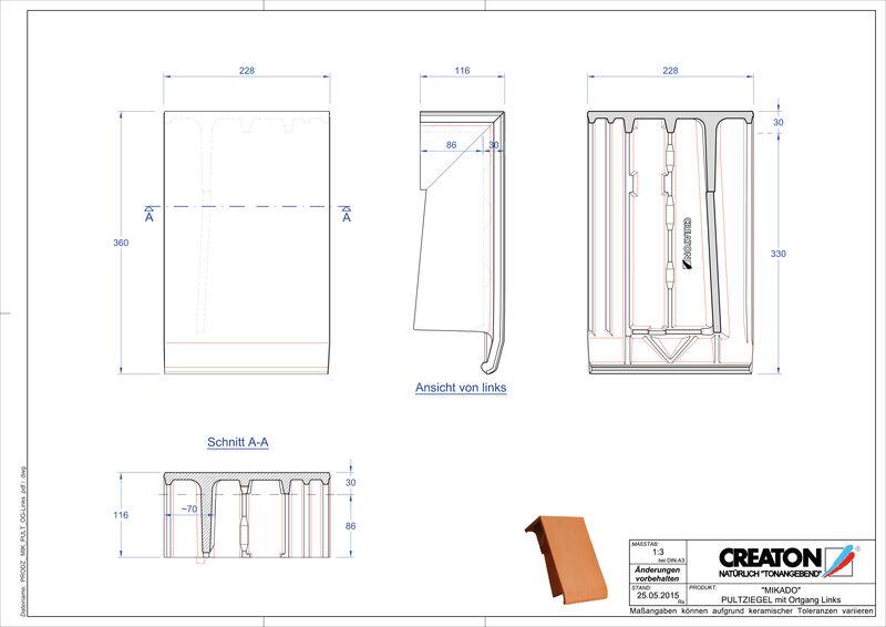 Produkt CAD-Datei MIKADO Pultziegel Ortgang links PULTOGL