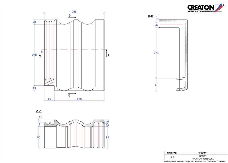 Produkt CAD-Datei RATIO Pultziegel Fläche PULTFLA