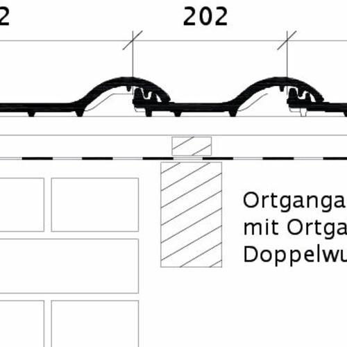 Produkt technische Zeichnung BALANCE OG links mit Ortgangblech und Doppelwulst ODL