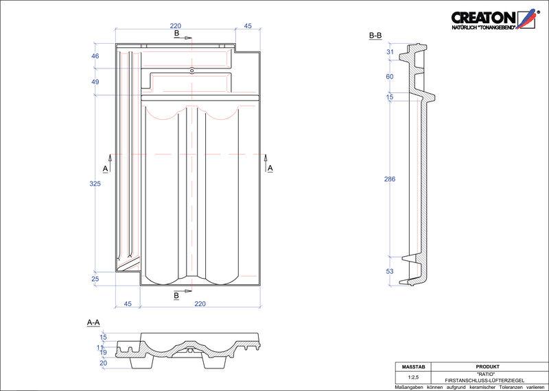 Produkt CAD-Datei RATIO Firstanschlusslüfterziegel FALZ