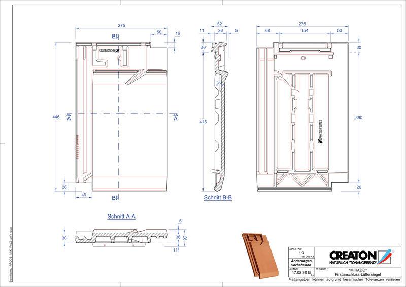 Produkt CAD-Datei MIKADO Firstanschlusslüfterziegel FALZ
