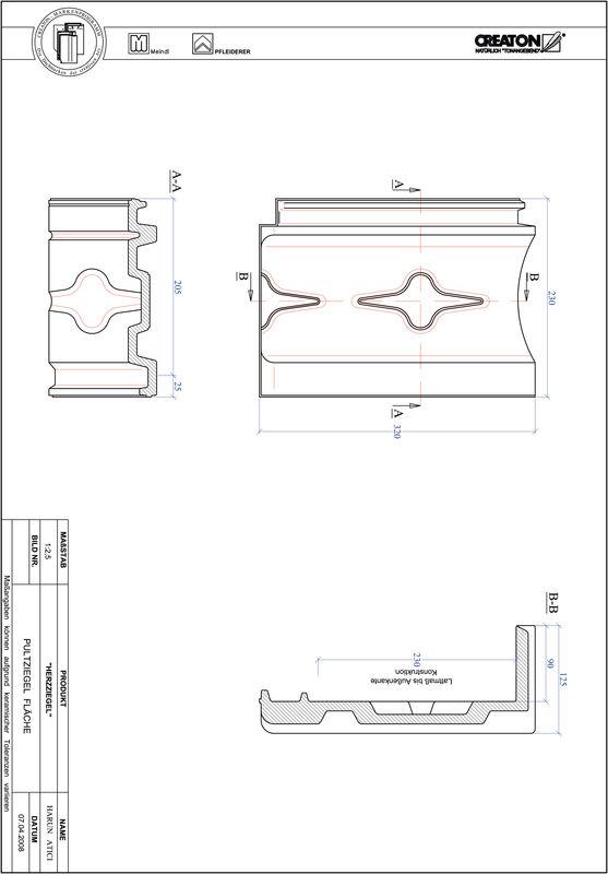 Produkt CAD-Datei HERZZIEGEL Pultziegel Fläche PULTFLA