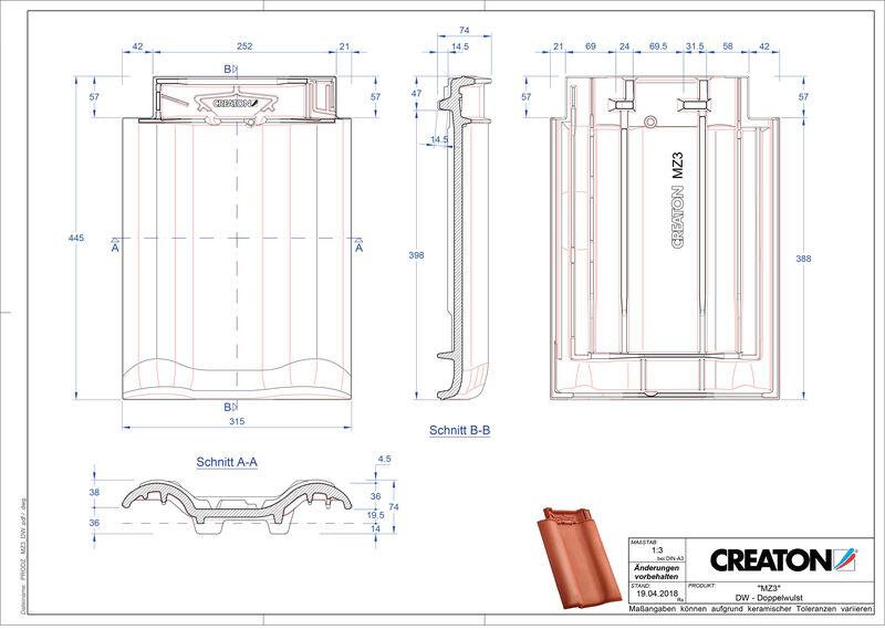 Produkt CAD-Datei MZ3 NEU Doppelwulstziegel DWZ