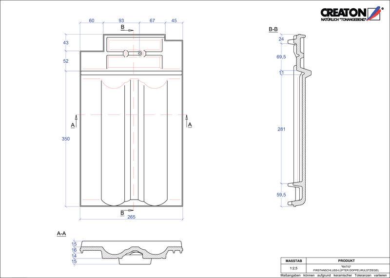 Produkt CAD-Datei RATIO Firstanschlusslüfter Doppelwulstziegel FALDWZ