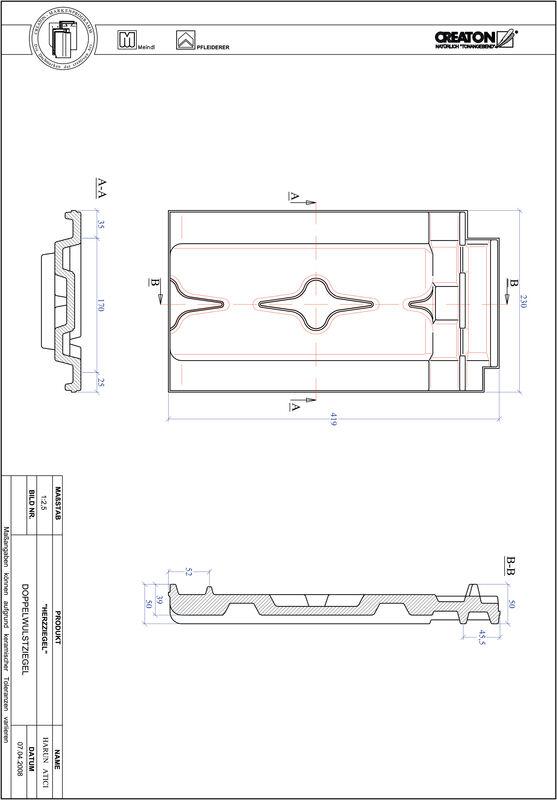 Produkt CAD-Datei HERZZIEGEL Doppelwulstziegel DWZ