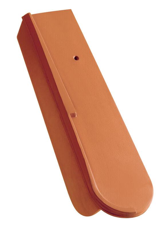 Sächsischer Biber 15,5 x 38 x 1,2 mit 3 Rillen Segmentschnitt Schiebe-Ortgang mit kurzem Seitenlappen ca. 5 cm rechts