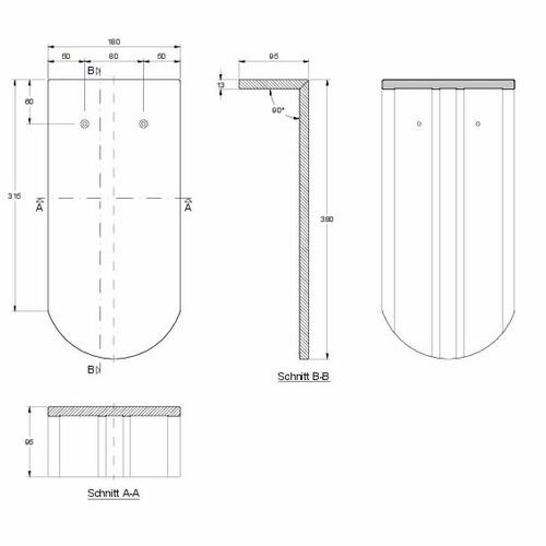 Produkt technische Zeichnung KLASSIK PULT-lang