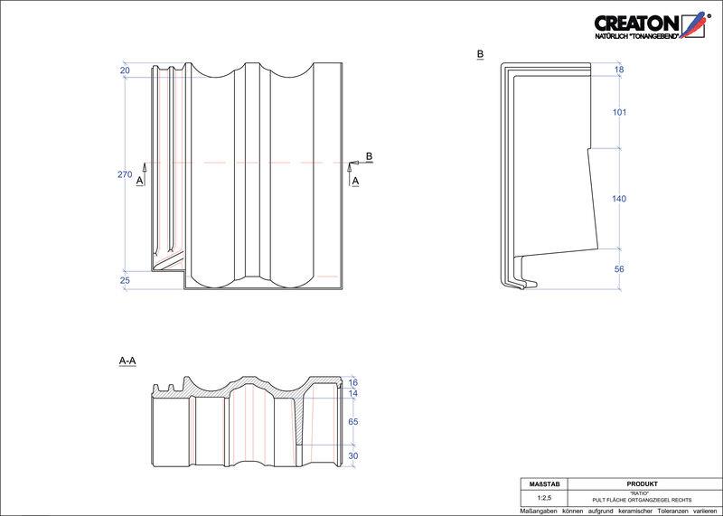 Produkt CAD-Datei RATIO Pultziegel Ortgang rechts PULTOGR