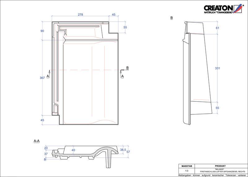 Produkt CAD-Datei BALANCE Firstanschlusslüfter Ortgang rechts FALOGR