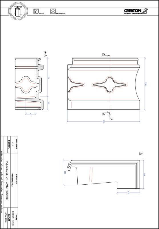 Produkt CAD-Datei HERZZIEGEL Pultziegel Ortgang rechts PULTOGR