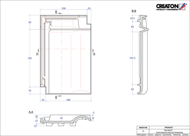 Produkt CAD-Datei BALANCE Firstanschlusslüfterziegel FALZ
